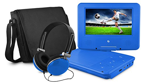 Ematic Personal DVD Player with 7-Inch Swivel Screen, Headphones, Carrying Case, Blue