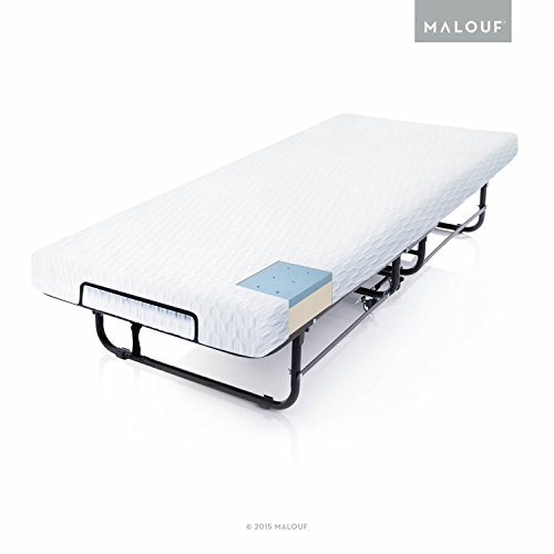 MALOUF ST04CTMFRB Structures Rollaway Folding Guest Bed with Premium Gel Memory Foam Mattress Cot Off White
