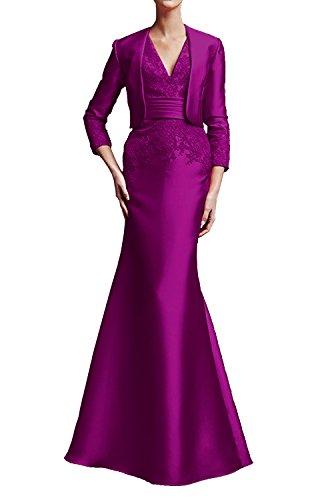 Festliche Partykleider Braut Abendkleider Fuchsia La Wassermelon Elegant Langarm Brautmutter Marie Lang Kleider 1BUTY8