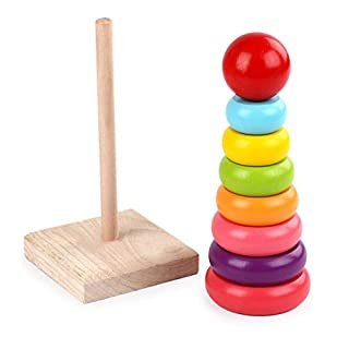 FANSUSENKE Rainbow Stacking Rings Toy Classic Stacker Developmental Toys with Premium Wooden 8 Colorful Pieces Smooth Rings and Solid Wood Base for 18 Month Up Boys and Girls Baby Toy Building Blocks
