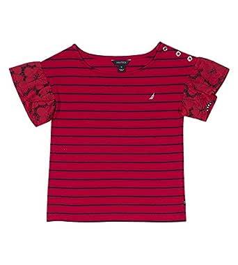 Nautica Girls NDA0285Q Short Sleeve Fashion Tee Short Sleeve T-Shirt - red - 3T