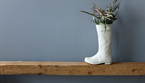 Modern white ceramic rain boot vase for flowers - funny shoe sculpture planter for indoor and outdoor plants by SinD studio