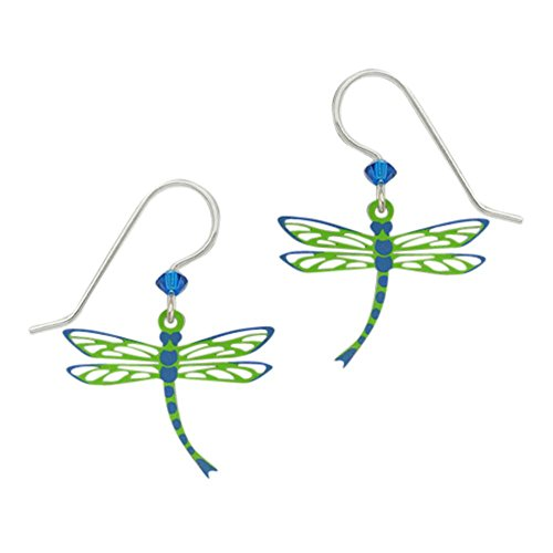 Sienna Sky Artisan Filigree Green Dragonfly w/Blue Wing Tips Earrings with Gift Box ()