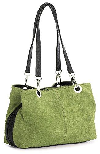BHBS Bolso Pequeño de Dama para Hombro en Piel Gamuzada italiana Auténtica con doble Asa y Multibolsillos 30x20x10 cm (LxAxP) Lime Green - Black Trim