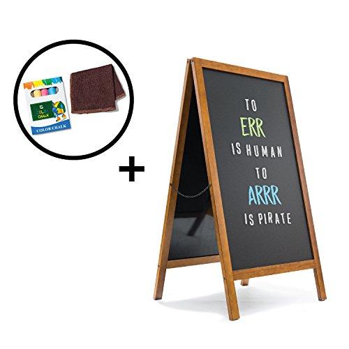 Premium A-Frame Chalkboard - Magnetic Porcelain Steel Board - Durable Blackboard - Indoor & Outdoor Use - Sidewalk sign for Bars, Cafes, Events & - Black Porcelain Chalkboard