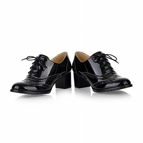 Heel Leather Style Black Up Lace Chunky Mid Vintage Shoes Oxford Lucksender Womens Patent qEwZn0I
