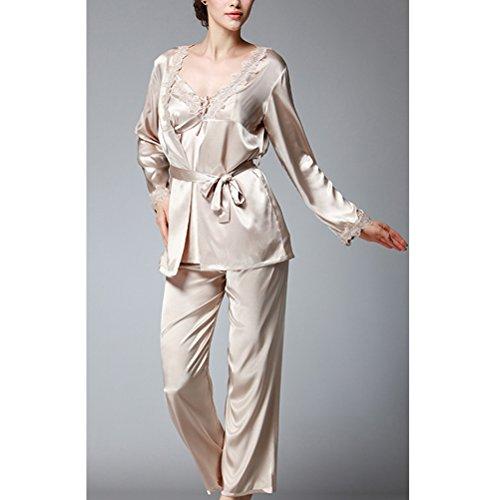 Zhhlaixing Fashion Three-piece Long Sleeves Nightwear Set Elegant Womens Home Silk Pajamas Camel