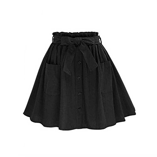 Women's A-Line High Elastic Waisted Button Pleated Skirt with Pockets About Knee Length Black One Size