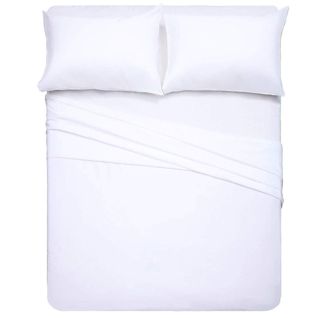 Wrinkle Free - 3 Piece Set Stain Resistant Bed Sheet Set KETHER Luxury Hotel Collection Double Brushed Microfiber Solid White Twin Size Sheet Set with 15 Inch Deep Pocket 1800 Series