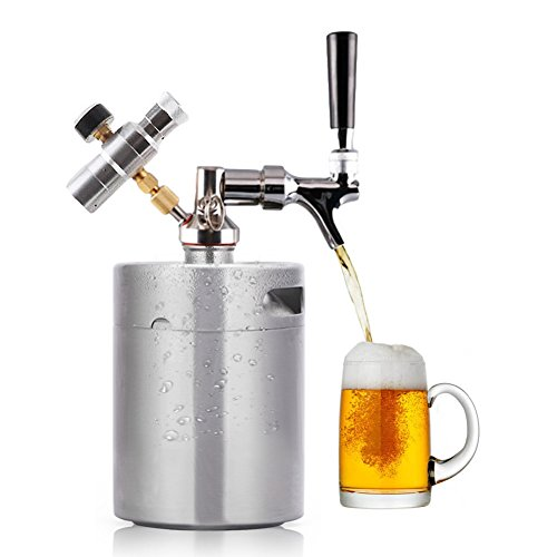 HAVEGET 64 Ounce Min Beer Keg Pressurized Growler for Craft Beer Dispenser System CO2 Adjustable Draft Beer Faucet with With Perfect Pour Regulator