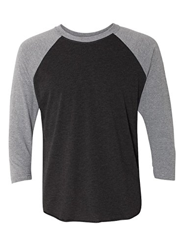 3/4 Sleeve Raglan Jersey - Next Level Apparel 6051 Unisex Tri-Blend 3 By 4 Sleeve Raglan - Vintage Black & Premium Heather, 2XL