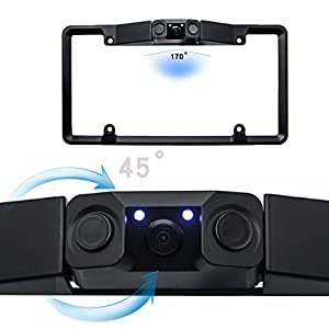 Car Backup Camera License Plate with 2 Radar Detector Sensors BiBi Alarm Indicator Video Parking Sensor 170 Viewing Angle , Car License Plate Frame Mount Rear View Camera