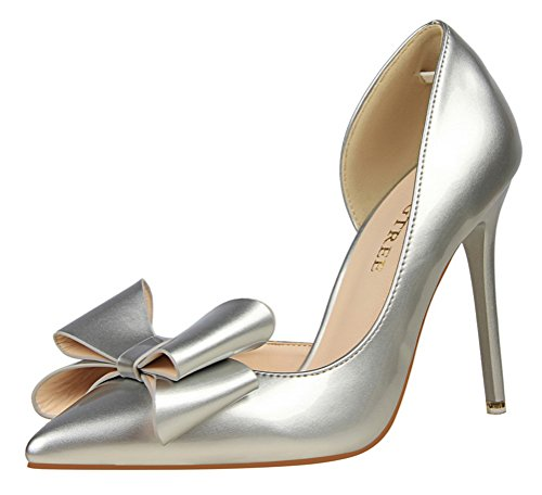 Little Bow Peep Costume Women (Passionow Women's Sweet Bow Pointed Toe Platent Leather D'Orsay Stiletto Heel Cut Out Pumps (6 B(M)US,Silver))