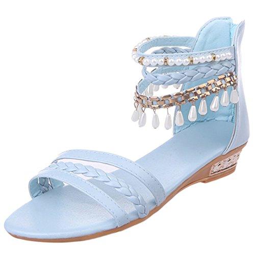 Azbro Mujer Sandalias Estilo Boho de Tacón Cuña Correa Tobillo con Puntera Abierta Azul