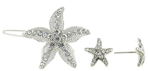 Clear Starfish Hair Clips & Mini Starfish Post Earring Set (Starfish Mini Earrings)