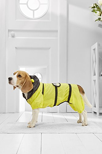 (Medium Dog Bee Raincoat With Hood For Beagle Cocker Spaniel Sheltie Dachshund (Small Medium Size, yellow, black))