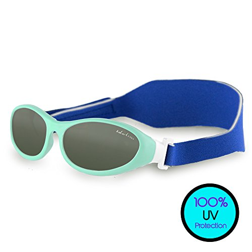 Toddler Sunglasses (UVA UVB Protection) - BabyWrapz Kids Sunglasses Age 2 & Younger w/ Soft, Adjustable Strap for No-Fuss Comfort & Headbands - Idol Eyes - Month Sunglasses Old 6