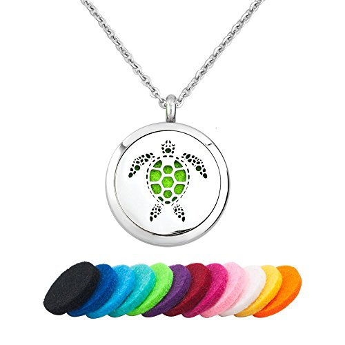 (Third Time Charm Animal Essential Oil Diffuser Necklace Aromatherapy Jewelry Locket, 12 Refill Pads (Turtle))