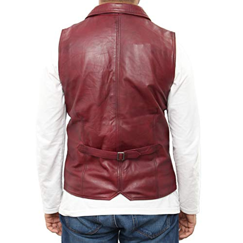 Leather Five chaleco Burdeos con en Disponible cuello cuero A To Z estilo Up Mens suecia y Button Smart Camisa acabado 744tXqxwH