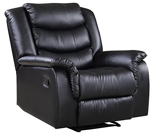 Merax PU Leather Recliner Contemporary Ergonomic adjustable Sofa Chair, Black