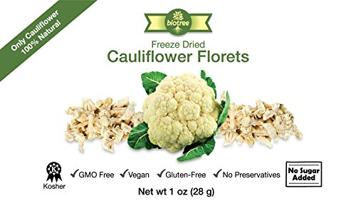 Biotree Naturals Delicious Cauliflower Snack - All Natural Freeze Dried Cauliflower Florets: No Added Sugar, Paleo, Gluten-Free. Healthy Snack for Children & Adults. Add to Pasta, Sauces, Soups, Dips