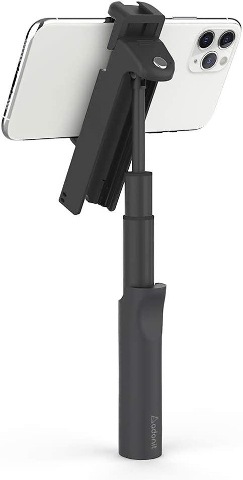 Selfie Stick Universal Cold Shoe Mount,1//4 Screw Thread and Smartphones Android and More for iPhone The 7-in-1 Adonit V-Grip with Multi-Angled Adjustable Stand Black Bluetooth Shutter Remote
