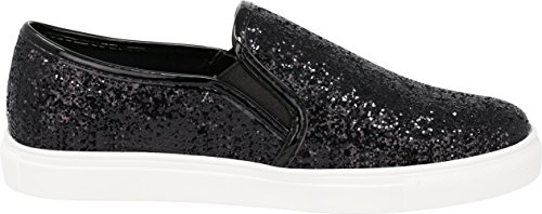 Select Sneaker Slip Women's Sole On Glitter Round Cambridge Stretch White Black Closed Encrusted Toe Fashion dOqwRa8