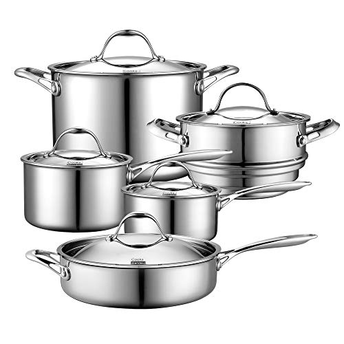 Cooks Standard 10 Piece Multi-Ply Clad Cookware Set, Stainless Steel (Renewed)
