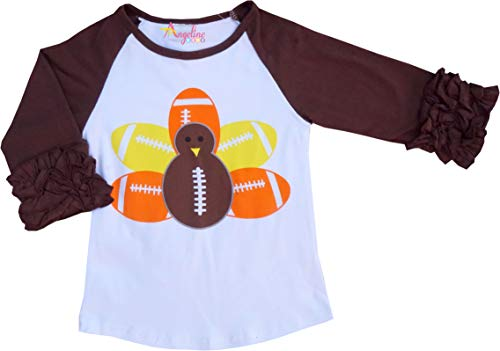 (Angeline Boutique Clothing Girls Thanksgiving Day Football Turkey Ruffles Raglan T-Shirt 2T/S)