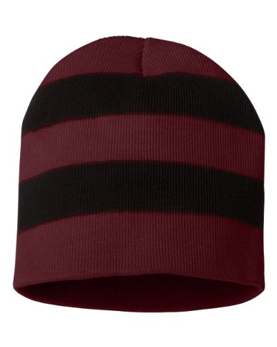 Knit Rugby - Sportsman - Rugby Striped Knit Beanie - SP01 - One Size - Maroon/ Black