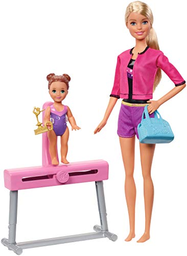 Barbie Gymnastics Coach Dolls & Playset with Blonde Coach Barbie Doll, Brunette Small Doll and Balance Beam with Sliding…