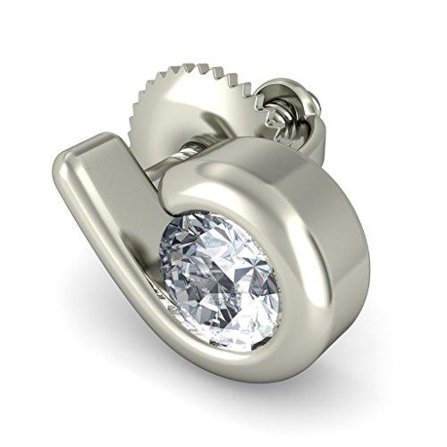 18K Or Blanc 0,22CT TW Round-cut-diamond (IJ | SI) Boucles d'oreille à tige