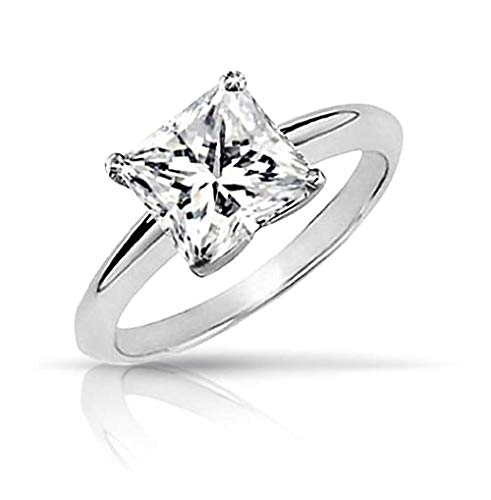 Used, Simple 3CT Square Brilliant Princess Cut AAA CZ Solitaire for sale  Delivered anywhere in Canada