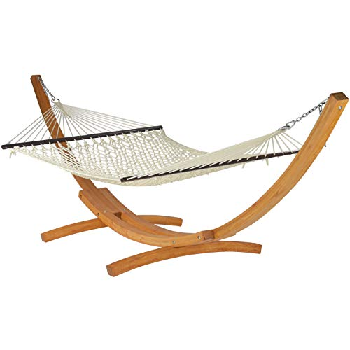 Caribbean Hammocks - Rope Hammock and Wood Arc Stand (Cream)