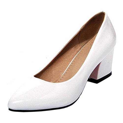 AicciAizzi Heel Block White Pumps Women Solid FqHrOaF