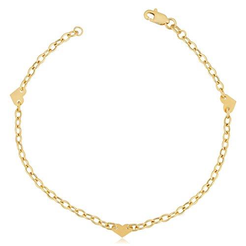 Heart Station Bracelet - Kooljewelry 14k Yellow Gold Heart Station Bracelet (7 inch)