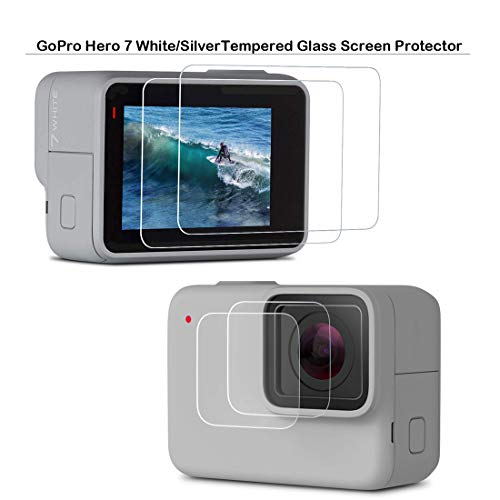 GoPro HERO7 Silver Screen Protector - MOTONG LCD Tempered Glass Screen Protector for GoPro HERO7 Silver and GoPro HERO7 White, 9 H Hardness, 0.3mm Thickness,Made from Real Glass