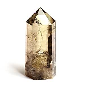 Hongjintian 4.3-5Inches Natural Smoky Crystal Point Wands Quartz Crystal Points