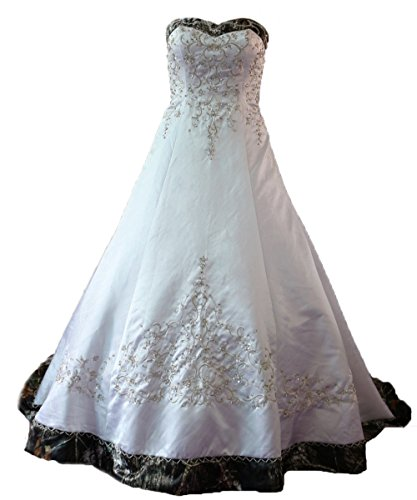 ZVOCY White Satin Camo Wedding Dresses A-Line Camouflage Embroidery Bridal Gown White 16