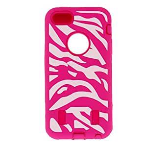 Zebra Stripe Pattern 2-in-1 All-Around Silicone Protective Case with Black Hard Inside Cover for iPhone 5C (Assorted Colors) --- COLOR:Green