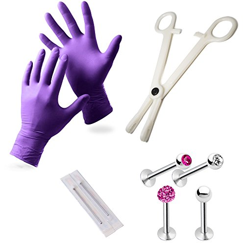 8-Piece Labret/Monroe Piercing Kit - Including Gloves, Needles, Tool and (4) 316L Surgical Steel Jewelry