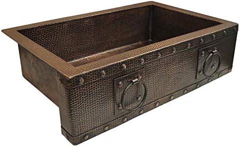 Copper Design CFS-30209-RN-MA Copper Farmhouse Kitchen Sink44 Matte – Rings Design – Large – 9 x 20 x 30 in.