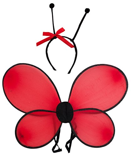 Ladybug Wings And Antennas 2pc Costume Accessory Set Red One (Adult Ladybug Wings)