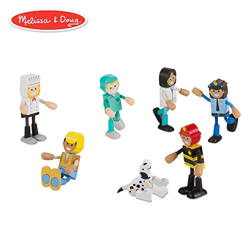Melissa & Doug Wooden Flexible Figures- Careers Dolls for Dollhouses