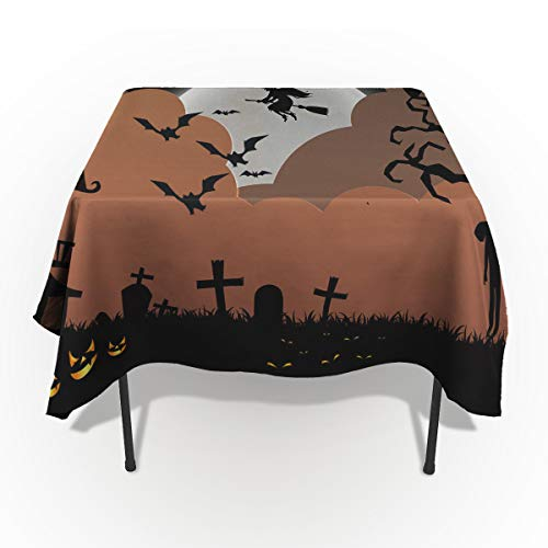 60 x 162 Inch Rectangle Tablecloth - Happy Halloween Night Witch Rectangular Polyester Table Cloth Table Covers Linen Decor - Great for Kitchen Table, Parties, Holiday Dinner, Wedding & More ()