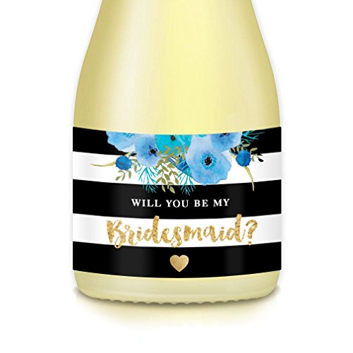 Will You Be My? Bride Proposal to Bridesmaid, Maid, Matron of Honor, Set of 10 Elegant Mini Champagne Bottle Labels 3.5