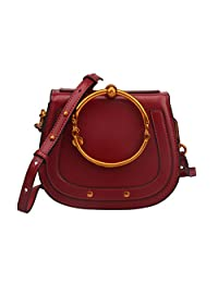 Ainifeel Women's Genuine Leather Fashion Small Top Handle Handbags And Purses With Metal Ring Handle
