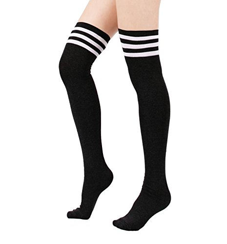 Womens Over Knee Stripe Socks Girls Thigh High Long Cosplay Socks Black White