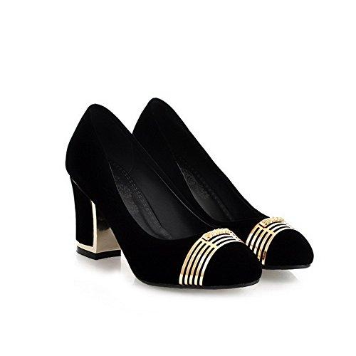 Himmeä Solid Pumput Naisten Musta Suljettu kengät 37 Toe Pyöreitä Weipoot Korkokengät aB5w1pq