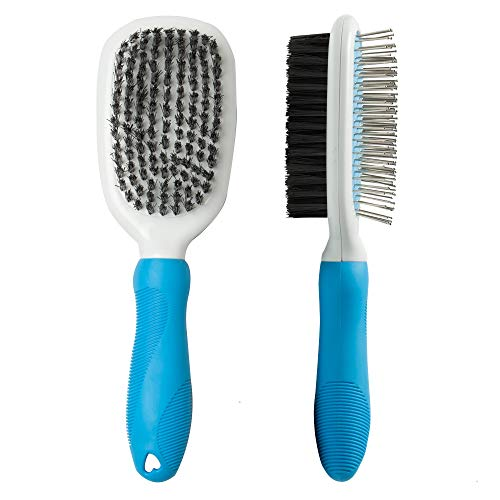 Double Sided Grooming - Pet Grooming Brush,Double-Sided 2 in 1 Soft Bristle and Pin Brushes for Dogs and Cats Massaging and Shedding Tools for Short and Long Hair